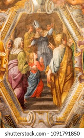 PARMA, ITALY - APRIL 17, 2018: The fresco of Presentation of Virgin Mary in the temple on the cieling of church Chiesa di Santa Maria degli Angeli by Pier Antonio Bernabei (1620).
