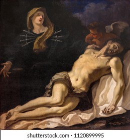PARMA, ITALY - APRIL 17, 2018: The painting of Pieta (Madonna of Seven Sorrows) in church Chiesa di Santa Maria degli Angeli by Sebastiano Ricci (1686).
