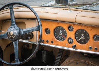 PARMA, ITALY - APRIL 2015: Retro Vintage Jaguar Car driver's seat and dashboard
