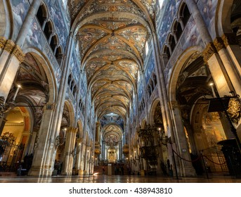 PARMA, ITALY - APRIL 27 2016: 12th-century Romanesque Parma cathedral filled with Renaissance art. Its ceiling fresco by Correggio is considered a masterpiece of Renaissance fresco work.