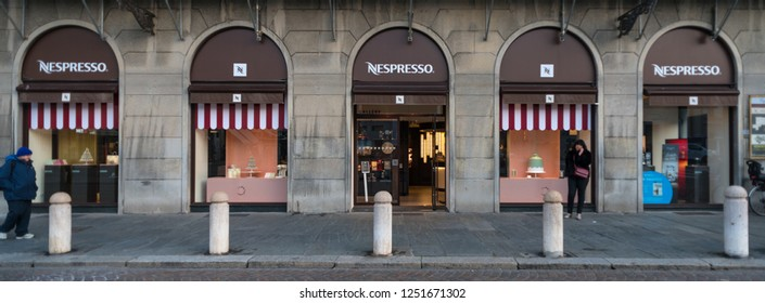 PARMA, ITALY - DECEMBER, 2018: Nespresso shop in the city center. Nespresso is the brand name of Nestlé Nespresso S.A., an operating unit of the Nestlé Group, based in Lausanne, Switzerland.