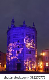 PARMA, ITALY - DECEMBER 23, 2015: Light performance on winter holidays in the night on Duomo piazza in Parma, Emilia Romagna region, Italy.