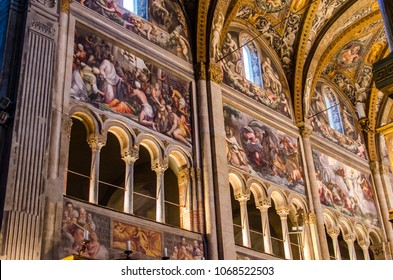 PARMA, ITALY - FEBRUARY 17, 2018: Interior of the Parma cathedral in Italy. It is an important Italian Romanesque cathedral.