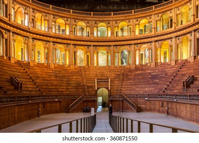 PARMA, ITALY - JANUARY 05, 2016: Historic Baroque-styled Farnese theatre in Parma, Italy. It was built in 1618.