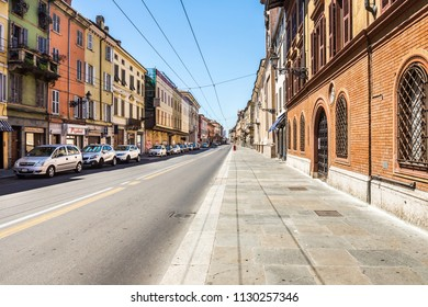 Parma, Italy - July 17, 2016: Strada della Repubblica is central street of Parma with traditional old buildings. Italy