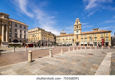 Parma, Italy - July 17, 2017: Piazza Giuseppe Garibaldi in the center of Parma, Italy