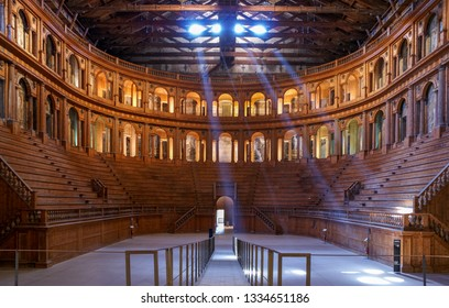 PARMA, ITALY - March 06, 2010: Historic Farnese theatre located in Palazzo della Pilotta in Parma, Emilia-Romagna, Italy. Was built in 1618. - Image