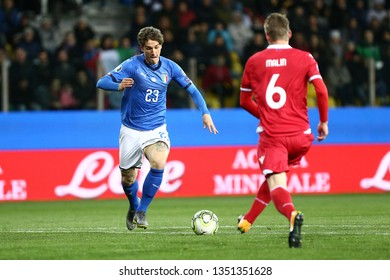 Parma, Italy - March 26,2019.  UEFA European Championships qualifying match Group J. Italy vs  Liechtenstein.  Nicolo Zaniolo of Italy in action .