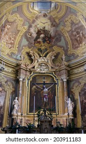 PARMA, ITALY - MAY 01, 2014: Altar in the church of Saint Vitale, located in the historic center of Parma, not far from City Hall.