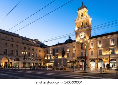 Parma, Italy - May 1 2019: Twilight over the Governor's Palace and the Garibaldi square in the center of Parma old town in Emilia-Romagna