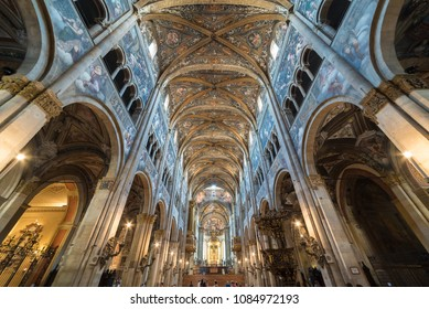 PARMA, ITALY - MAY 2, 2013: Internal panoramic of Parma Cathedral as known as Duomo di Parma; Cattedrale di Santa Maria Assunta - Typical roman Catholic cathedral in Parma town, Emilia Romagna region
