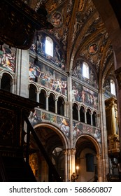PARMA, ITALY - NOVEMBER 3, 2012: decoration of Duomo Cathedral in Parma city. The construction of church was begun in 1059 by bishop Cadalo, and was consecrated by Paschal II in 1106