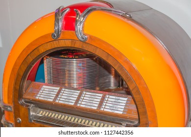 Parma, Italy - october 2015: Old fashioned jukebox used to play records, music player