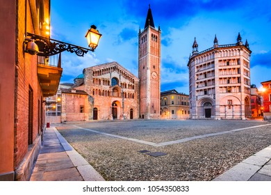 Parma, Italy - Piazza del Duomo with the Cathedral and Baptistery, built in 1059. Romanesque architecture in Emilia-Romagna.