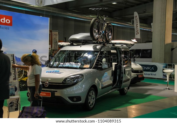 Parma, Italy - September 17, 2016: People looking at auto in annual exhibition of camper vans (Salone del Camper)