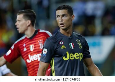 Parma,Italy, september 01 2018: Cristiano Ronaldo helps defenders teammates in the goal area during football match PARMA vs JUVENTUS FC, Italy League Serie A 2018/2019 day3, Ennio Tardini stadium