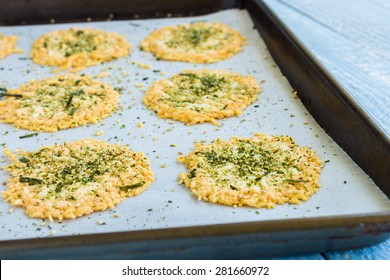 Parmesan baked crispy and sprinkled with furikake seasoning
