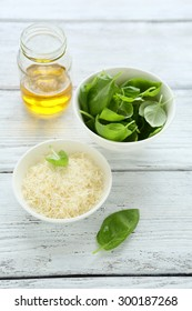 Parmesan cheese with basil. Tasty food