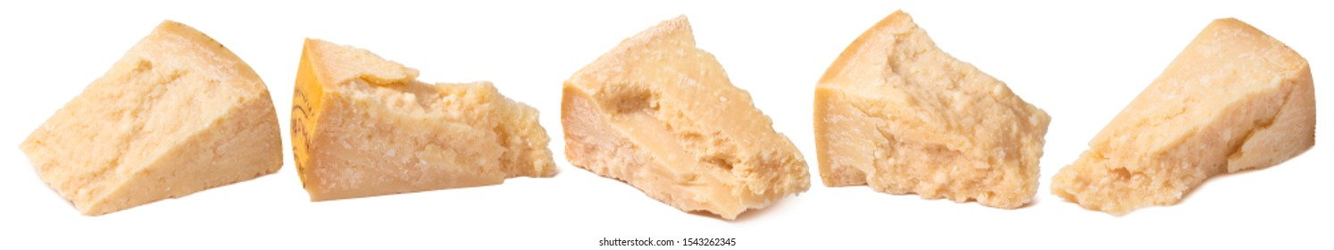 Parmesan cheese blocks set isolated on white background. Parmigiano reggiano or grana padano shards. Package design element with clipping path