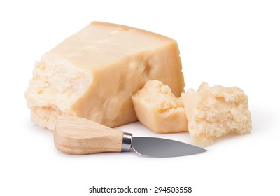 parmesan cheese on white background