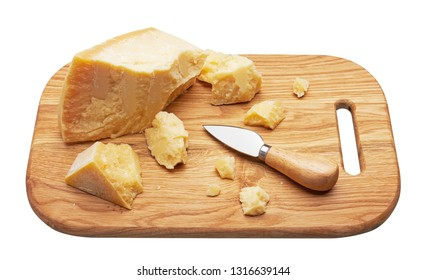 Parmesan cheese on wooden board, isolated on white background