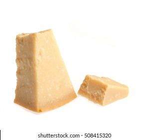 Parmesan cheese over white background