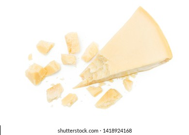Parmesan cheese pieces isolated on white background
