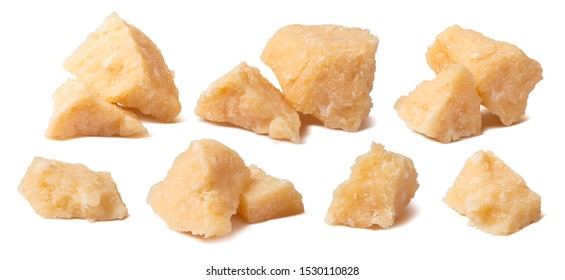 Parmesan cheese small pieces set isolated on white background. Parmigiano shards. Package design elements with clipping path