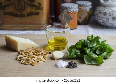 Parmesan, pine nuts, garlic, olive oil and basil - pesto