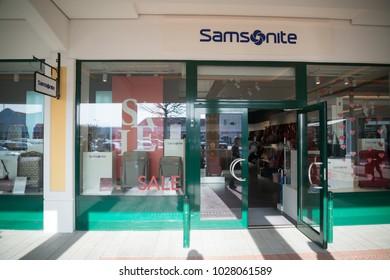 Parndorf, Austria, february 15, 2018: Samsonite store in Parndorf, Austria. Samsonite is an American luggage manufacturer and retailer founded in Denver.