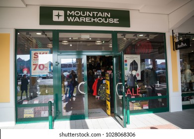 Parndorf, Austria, february 15, 2018: Mountain Warehouse store in Parndorf, Austria. Mountain Warehouse is a British outdoor retailer selling equipment, founded in 1997 by Mark Neale.
