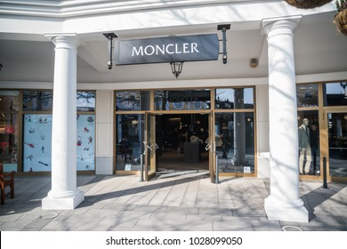Parndorf, Austria, february 15, 2018: Moncler store in Parndorf, Austria. Moncler is an Italian apparel manufacturer and lifestyle brand founded in 1952 by René Ramillon