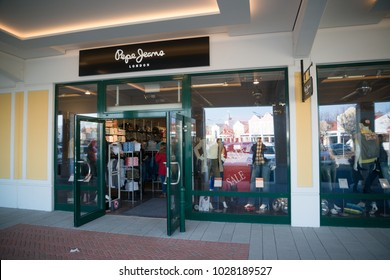 Parndorf, Austria, february 15, 2018: Pepe Jeans store in Parndorf, Austria. Pepe Jeans was founded in 1973 by three brothers Nitin, Arun, and Milan Shah