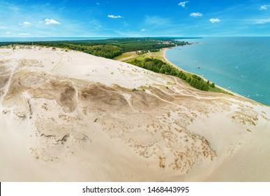 Parnidis dune, spit. Parnidzio kopa.  The Curonian Lagoon. Baltic sea. Sun clock. Nida, Neringa, Lithuania.