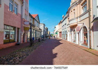 PARNU, ESTONIA - AUGUST 9, 2017: central street with tourist shops, Parnu, Estonia