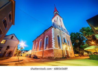 Parnu, Estonia, Baltic States: the old town and St. Elizabeth's Church at night