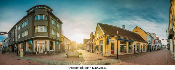 Parnu, Estonia - December 14, 2017: Panorama Old Houses in Historical Ruutli Street.