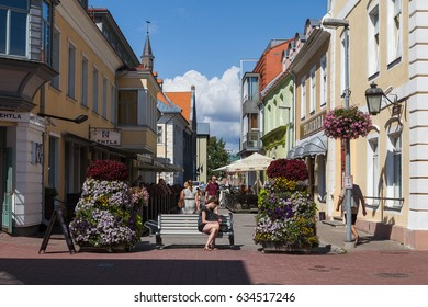 PARNU, ESTONIA - JULY 29, 2016: Old town of popular summer holiday resort town
