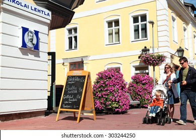 Parnu, Estonia- July 31, 2015- July- 31: the central streets of the city of Parnu , July 31, 2015 in Parnu, Estonia.