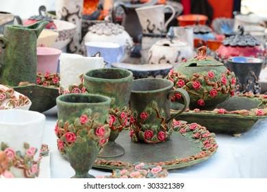 Parnu, Estonia- July 31, 2015: Ceramic tableware, trade on the street, July 31, 2015 in Parnu, Estonia.