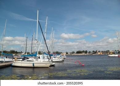 Parnu, Estonia - July 4: Parnu Yacht Club pier. July 4, 2014 in Parnu, Estonia.