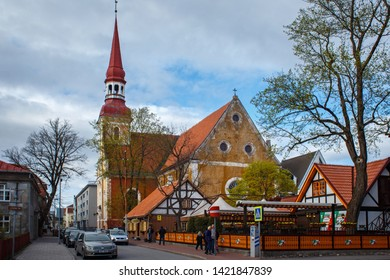 PARNU, ESTONIA - MAY 02, 2015: View of the old lutheran temple of Elizabeth (1744-1747) and other buildings in historical center of Parnu.