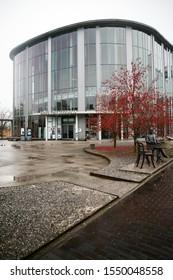 Parnu, Estonia - NOV 03, 2019: Parnu Concert Hall and sculpture of Gustav Peter Faberge