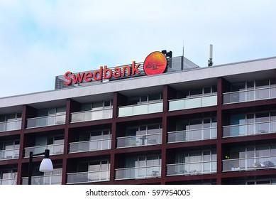 PARNU,ESTONIA-MARCH 02:SWEDBANK on March 02,2017 in Parnu,Estonia.Swedbank AB is a Nordic-Baltic banking group based in Stockholm, Sweden