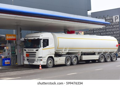PARNU,ESTONIA-MARCH 03: truck on the STATOIL gas station on March 03,2017 in Parnu,Estonia.Statoil ASA, (OSE: STL), is a Norwegian multinational oil and gas company headquartered in Stavanger, Norway.