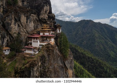 Paro, Bhutan - April 3, 2018 : Taktsang monastery (or Tiger's nest) seen from the final viewpoint, before descending to the temple