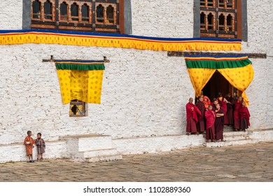 Paro, Bhutan - March 29, 2018 : Watching the dance performances at the annual Paro festival
