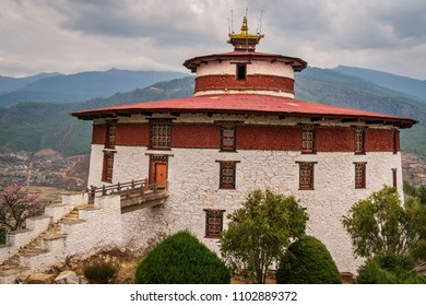 Paro, Bhutan - March 29, 2018 : The old historical museum in Paro, part of the Paro Dzong