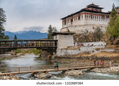 Paro, Bhutan - March 29, 2018 : View on the Paro Dzong from the river below