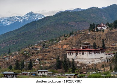 Paro, Bhutan - March 29, 2018 : View on the Paro Dzong from the road above